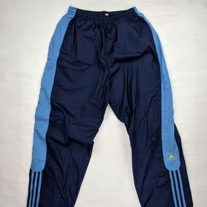 Vintage Adidas Lined Track Pants Blue Yellow Large